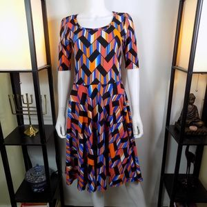 Lularoe Nicole Dress  Zig Zag Half Sleeve